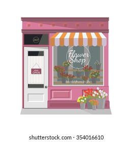 Flower shop.The facade of the store.Flat vector illustration