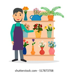 Flower shop florist or male salesperson with houseplants and potted flowers on the shelf. EPS10 vector illustration in flat style.