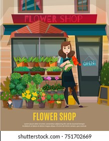 Flower shop with flowers collection and shop assistant symbols flat vector illustration