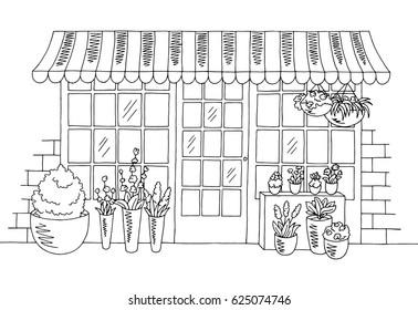 Flower shop graphic black white sketch illustration vector