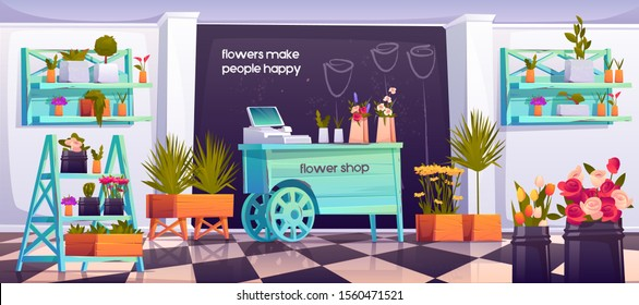 Flower shop interior, empty floristic store with potted plants on shelves, wood wheelbarrow cashier desk, tiled floor, decoration items with blossom compositions for sale. Cartoon vector illustration
