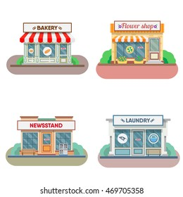 Flower shop, laundry, bakery facade in the town. Vector illustration