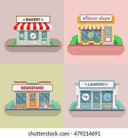 Flower shop, laundry, barber and bakery facade in the town. Vector illustration