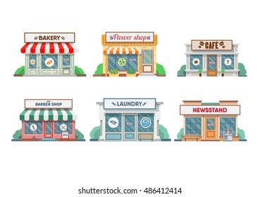 Flower shop, laundry, barber, bakery and newsstand, cafe facade in the town. Vector illustration