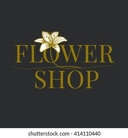 Flower shop logo, emblem, sign vector. Template design element for business related to flowers - delivery, gardening, florist