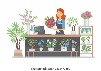 Flower shop - modern vector cartoon people characters illustration on white background. Quality colorful composition with a young smiling female florist at the counter, store, selling plants, bouquets