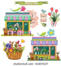 Flower shop. Pastel colors. Shop, bouquet, basket with flowers, bird, envelope. Vector set in flat style.