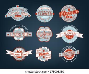 Flower shop - set of color retro labels