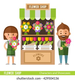 Flower Showcases and florists in a flat style. Flower shop, tulips, daisies and other flowers.
