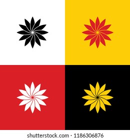 Flower sign. Vector. Icons of german flag on corresponding colors as background.