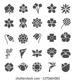 Flower Silhoutte Icons Collection