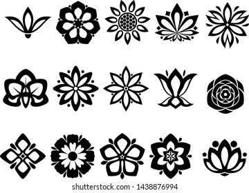 Flower Silhoutte Icons Collection, Minimal Thin Line Flower Icon