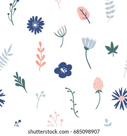Flower simple minimalistic seamless pattern graphic design for paper, textile print, page fill. Floral background with hand drawn wild flowers, herbs and leaves. Cute design for girls, kids.