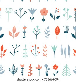 Flower simple minimalistic seamless pattern graphic design for paper, textile print, page fill. Floral background. Hand drawn wild flowers, herbs and leaves