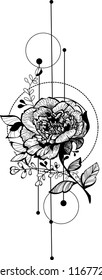 Flower sketch  bouquet hand drawing for fashion trendy tattoo design, laser cut