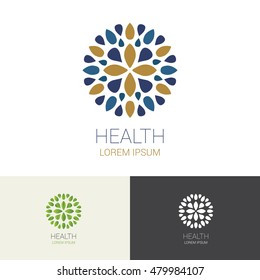 Flower Spa Healthy Yoga Hotel and Resort Logo Symbol, Vector illustration