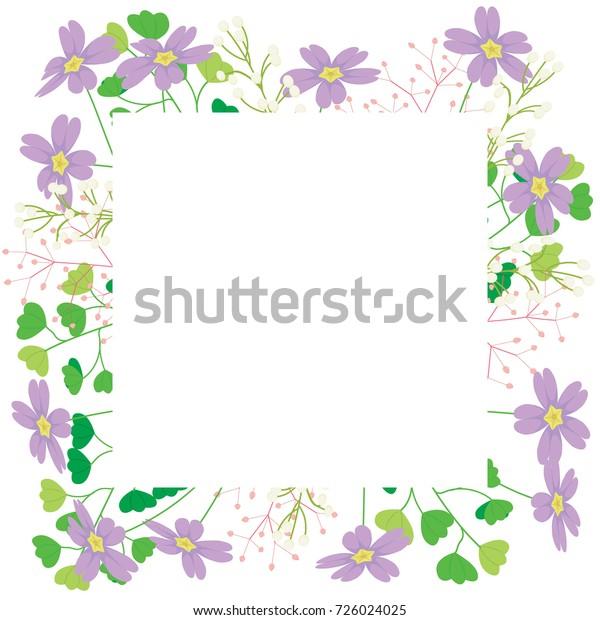 Flower Spring Purple Flower Pink Grass Stock Vector Royalty Free
