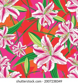 Flower Stargazer Lily and stars background red textile summer vector
