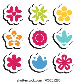 Flower sticker icon collection. Daisy symbol or logo, template, pictogram. Blossom silhouette. Colorful paper origami vector illustration