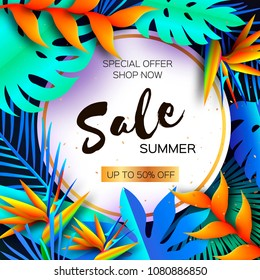Flower Strelitzia. Bird of paradise - exotic tropical plant. Palms. Summer Sale in Paper cut style. Text. Origami Monstera jungle floral background. Special offer. Poster, Flyer