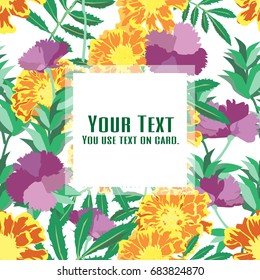 The flower summer with French Marigold and Violet Carnation. flower design for card, seamless, pattern and background.Vector illustration.
