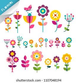 Flower Symbol. Flowers Icons. Cute Flat Plants. Colorful Decorative Vector Natural Elements.