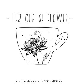 Flower in a tea cup . Graphic hand drawn vector illustration.