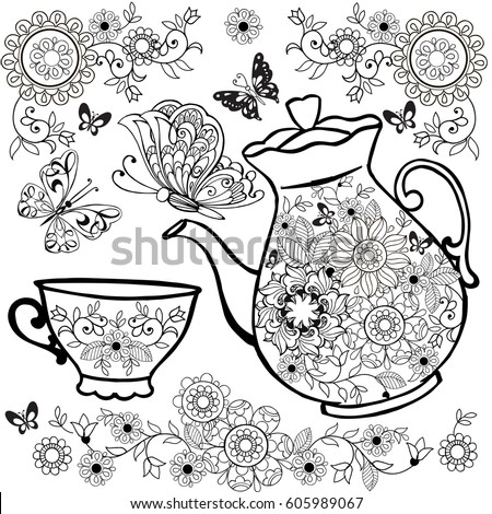 Flower Tea Teapot Coloring Pages Flowers Stock Vector (Royalty Free ...