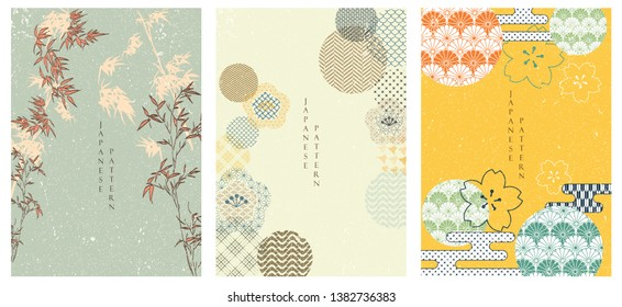 Flower template set in Japanese style. Bamboo and cherry blossom background. Japanese pattern.