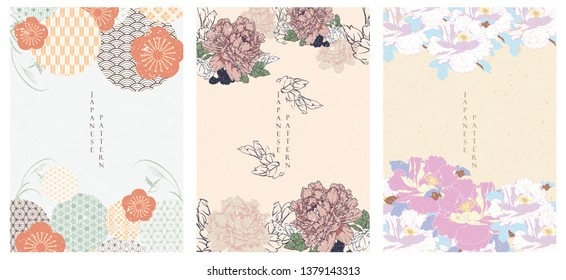 Flower template vector. Japanese pattern. Geometric background.
