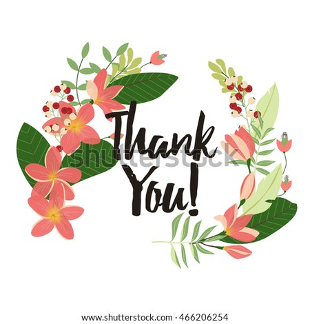 flower thank you card template plumeria stock vector royalty free