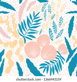 Flower trendy pastel seamless pattern in vector. Contemporary tropical floral illustration