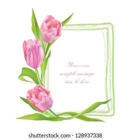 Flower tulip background. Floral frame with pink spring flowers. Tulips posy border isolated.
