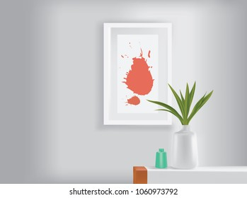 flower vase on table and visual art in the interior.Vector illustration.