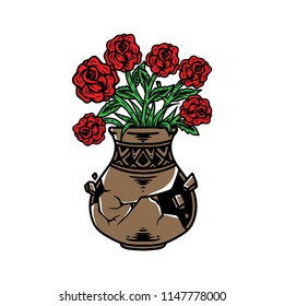 Flower and vase vector