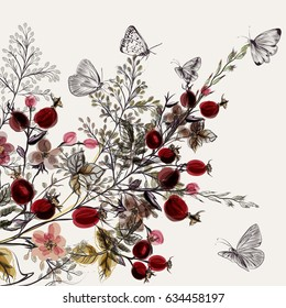 Flower vector background with plants. Vintage style