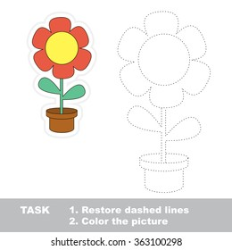 Flower in vector to be traced. Restore dashed line and color the picture.