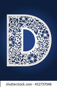 Flower vector capital letter D.