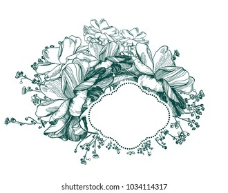 flower vector card frame engraved
