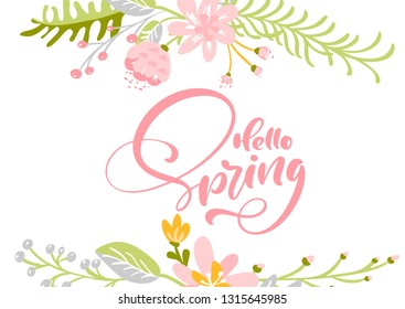 Flower Vector greeting card with text Hello Spring. Isolated flat illustration on white background. Spring scandinavian hand drawn nature wedding design