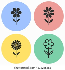 Flower vector icons set. Black illustration isolated for graphic and web design.