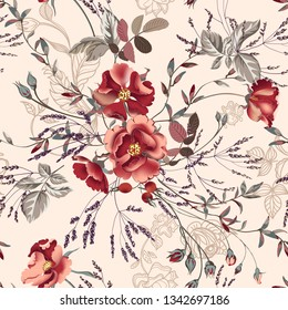 Flower vector illustration with burgundy roses and leaves. Vintage style, seamless pattern