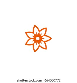Flower vector linear nature logo. Orange line art summer sun. Outline garden abstract symbol.