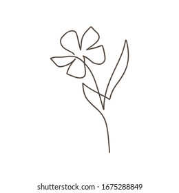 Flower vector one line art logo. Minimalist contour drawing monoline. Continuous line artwork for banner, book design, web illustration.