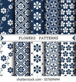 Flower vector pattern, pattern fills. Web page background, surface textures.