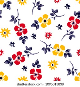 Flower vector pattern with leaves and daisies for textile pattern,fashion print