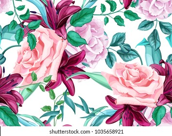 Flower vector rose lily flower bouquet seamless pattern Blossom leaf branch Vintage watercolor illustration. Spring summer wedding romantic date marriage background, backdrop fabric textile decoration