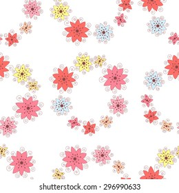 Flower vector seamless pattern.