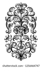 Flower vintage scroll Baroque Victorian frame border lily peony floral ornament leaf engraved retro pattern decorative design tattoo black and white filigree calligraphic vector