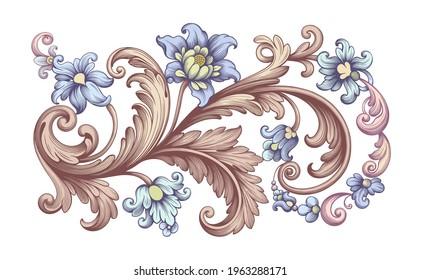 Flower vintage scroll Baroque Victorian frame border rose peony blue golden floral ornament leaf engraved retro pattern decorative design tattoo filigree calligraphic vector